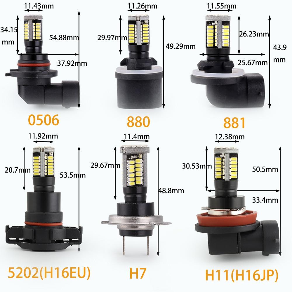 Image 5 - Q8 Series 2 Pcs Led Fog Light Bulb 9005 9006 880 881 5202 H16EU H7 H11 H16JP Super Bright White 6500K  Auto Driving Running LampCar Fog Lamp   -