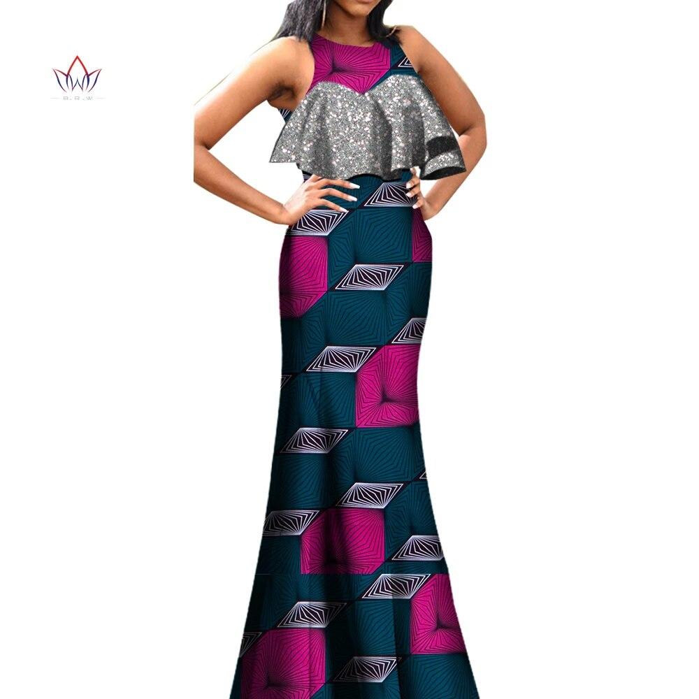 Ensemble haut et jupe pour Femme, en cire, imprimé Dashiki, Robe Longue,  tissu de soirée, grande taille, BRW WY20, été, 20