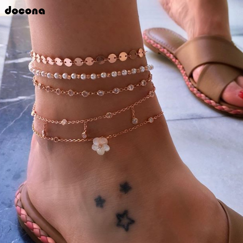 docona Boho Crystal Pearls Beaded Anklet Set for Women Girls Multilayer Adjustable Flower Sequin Foot Chains Beach Jewelry 8496