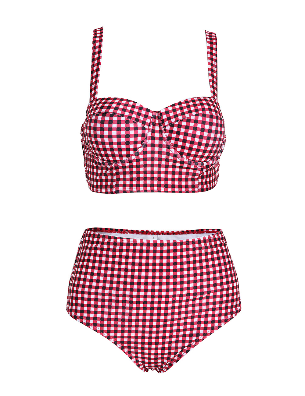 Hetuaf High-waisted Bikini New Style Two-piece Swimsuits Bandage Cloth Plaid EBay Hot Selling Solid Color Sexy Bikini Women's