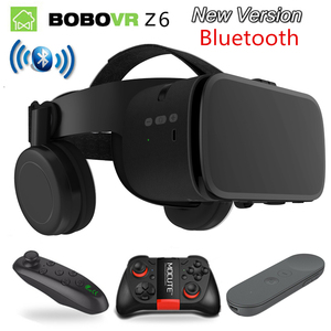Image 1 - 2019 Nieuwste Bobo vr Z6 VR bril Draadloze Bluetooth Oortelefoon VR goggles Android IOS Remote Reality VR 3D kartonnen Bril