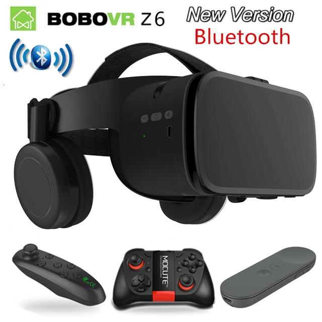 2019 Nieuwste Bobo vr Z6 VR bril Draadloze Bluetooth Oortelefoon VR goggles Android IOS Remote Reality VR 3D kartonnen Bril