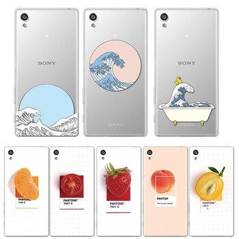 Перейти на Алиэкспресс и купить Прозрачный волнистый персиковый чехол для телефона Sony Xperia L3 XA1 Ultra XA2 Plus X XA XZ XZ1 XZ2 Compact XA3 Z5 10 мягкий чехол из ТПУ