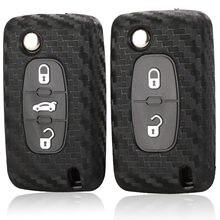 Силиконовый чехол для ключей jingyuqin, углеродный силиконовый чехол для ключей Peugeot 107 206 207 208 306 307 308 407 408 508 RCZ для Citroen C2 C3 C4 C5 2/3 B