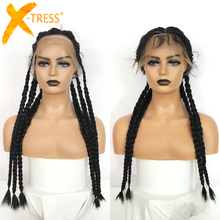 Braided Wigs Lace-Frontal Long-Twist Synthetic X-TRESS Full-Lace Women Black for Swiss