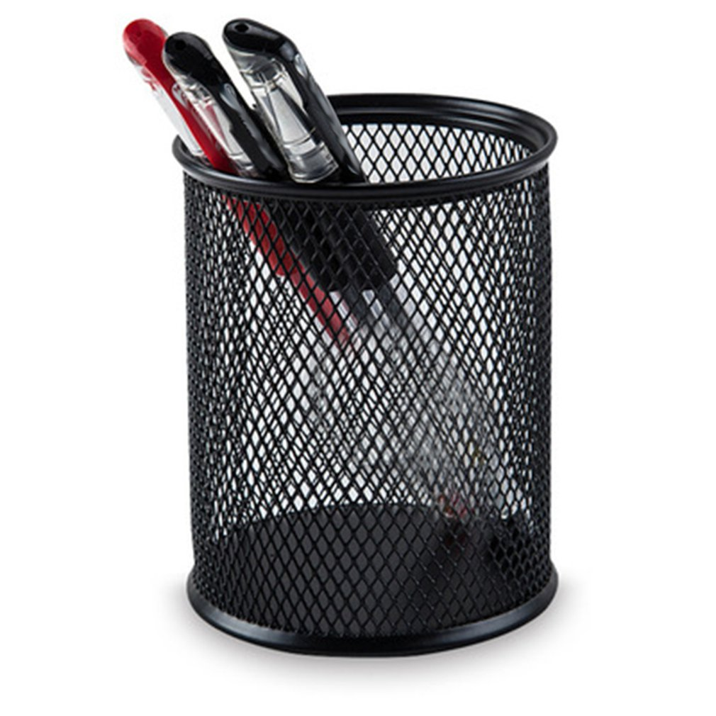 Office Home Supplier Desk Pencil Pen Holder Storage Organizer Cup Container Hollow Out Cylinder Makeup Brush Organizer