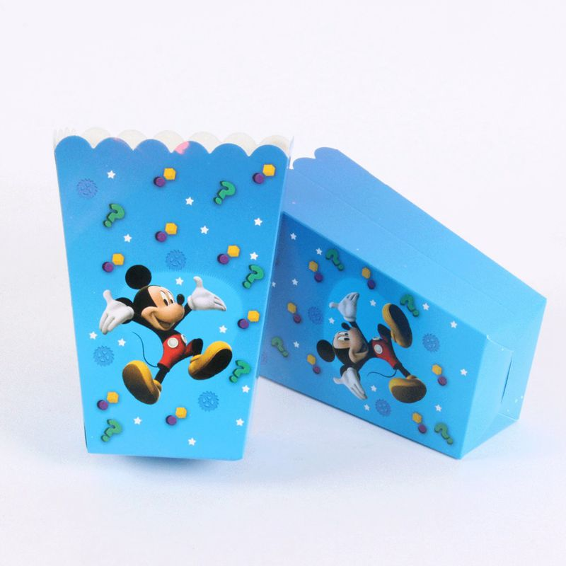 6pcs-lot Pop Corn Box Mickey Mouse Bateman Princess Seris Popcorn Box Happy Birthday Party Happy New Years Gift Hot Sale
