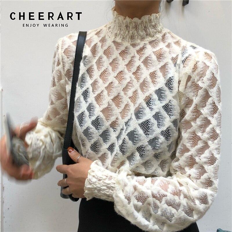 CHEERART Lace Chiffon Blouse Women Turtleneck White Black Ladies Top See Through Transparent Blouse Korean Fashion Clothing
