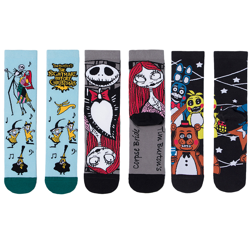 New 2020 Spring Men's Socks Novelty Funny Halloween Corpse Skull Printed Calcetines Women Harajuku Hip Hop Cotton Happy Socks
