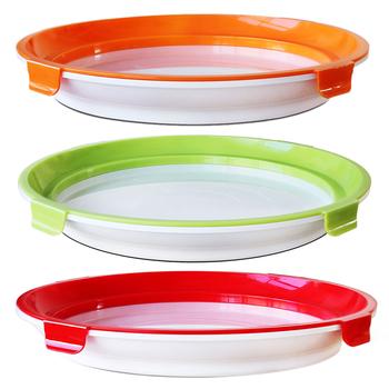 1PC świeże jedzenie przechowywanie tace konserwujące dekoracyjne okrągłe świeże Spacer Organizer do kuchni Preservate lodówka taca do serwowania tanie i dobre opinie Z tworzywa sztucznego CN (pochodzenie)