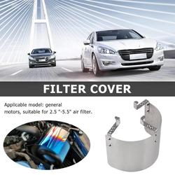Metal Racing Car Cold Air Intake 2.5-5 inch Neck Cone Filter Heat Shield Cover Effective Providing Cooler Air for Entry