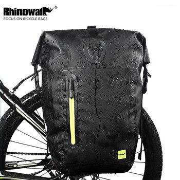RHINOWAIK 25L Cycling Bike Bags MTB Bike Rear Rack Bag Full Waterproof Multifunction Road Bicycle Pannier Rear Seat Trunk Bag