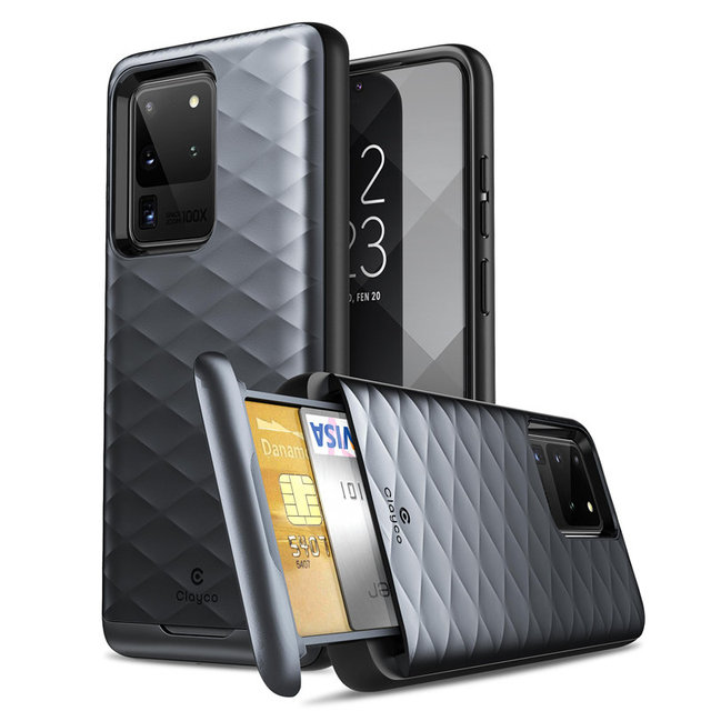 Clayco For Samsung Galaxy S20 Ultra 5G Case Argos Premium Hybrid Protective Wallet Cover With Built in Credit Card/ID Card Slot