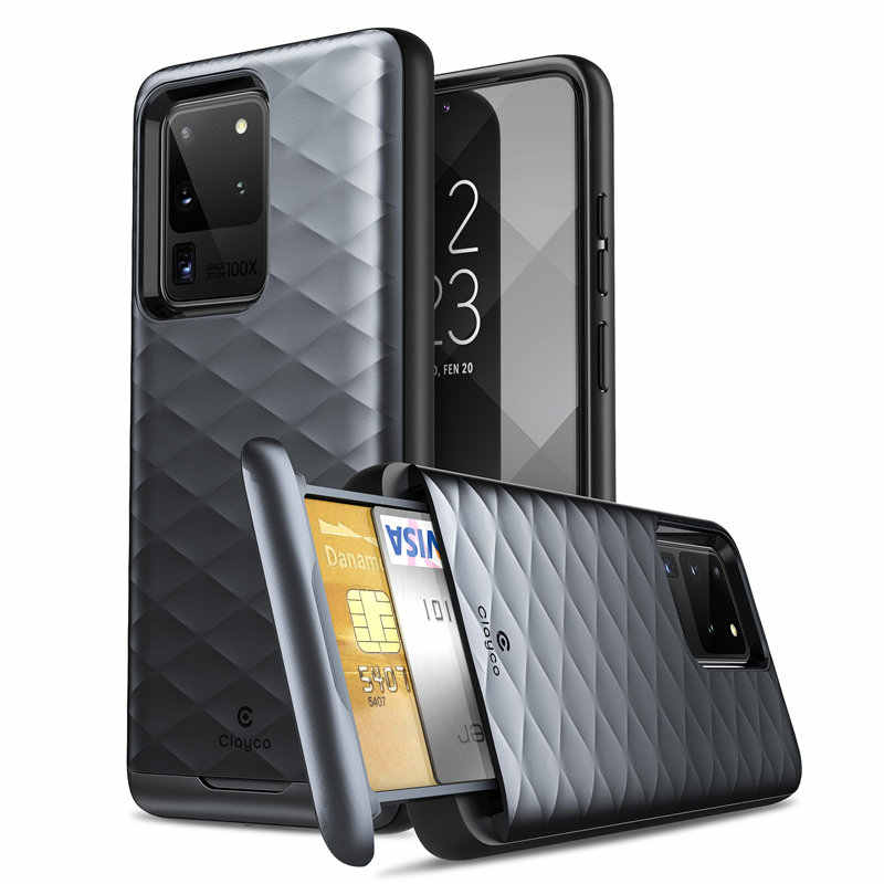 Clayco capa carteira híbrida para samsung, capa protetora híbrida, para samsung galaxy s20 ultra 5g cartão/encaixe do cartão do id