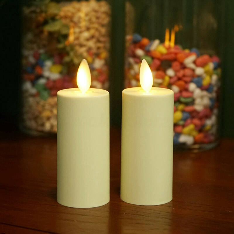 ABUI-2Pcs Luminara Flameless Moving Flame Lamp Votive LED Candles With Timer Ivory Unscented 1.75 X 3 Inch