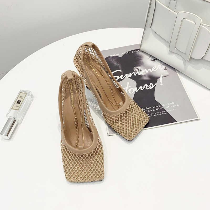 Boussac w stylu Vintage plac Toe Air Mesh Stretch pompy damski złoty łańcuszek wysokie obcasy buty damskie cięcia-buty designerskie kobiety SWB0224