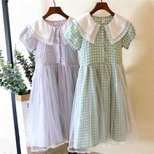 Dresses for Girls  Summer 2020 Korean Version Lace Large Lapel Plaid Skirt Childrens Vestidos De Verano Solid