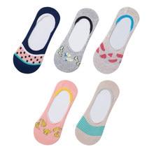 5 par de mulheres meias primavera verão boca rasa dos desenhos animados do sexo feminino algodão invisível japonês bonito animal não mostrar meias antiderrapante