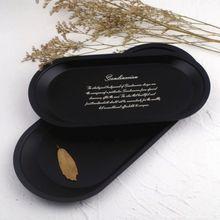Черный лоток для хранения из нержавеющей стали, тарелка для фруктов, мелкие предметы, Ювелирный Демонстрационный лоток для косметики, кухонные тарелки для хранения