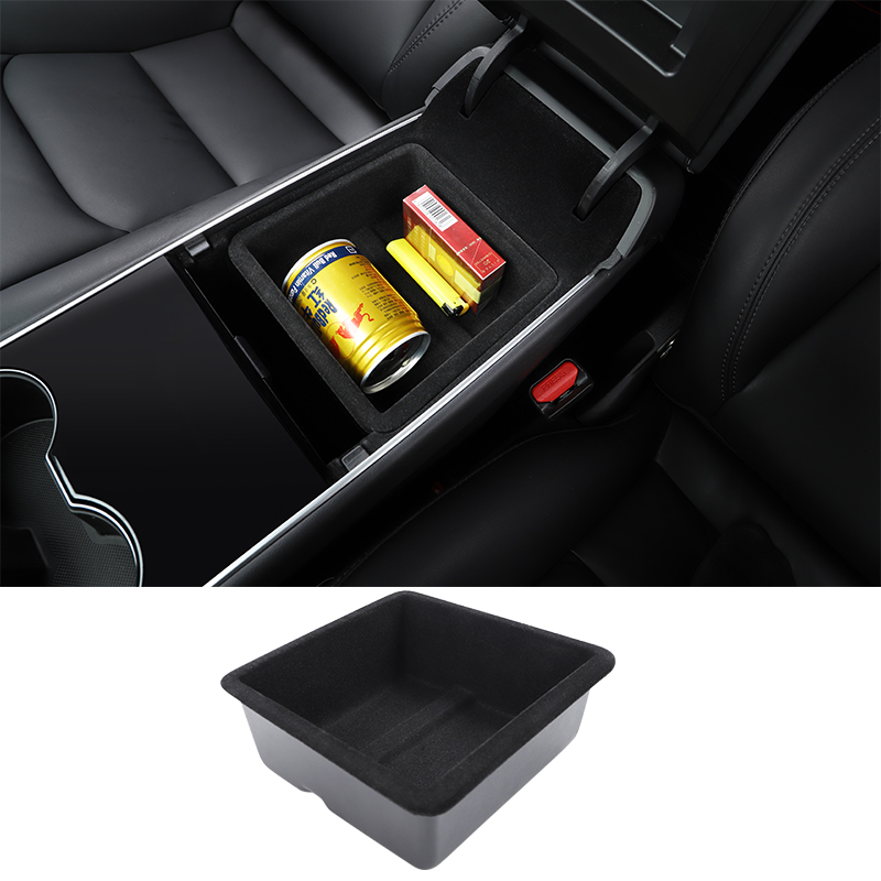 LUCKEASY for Tesla Model 3 2018-2020 Car Central armrest Box Flocking Stowing Tidying Glove Box Double Storey Non-Slip