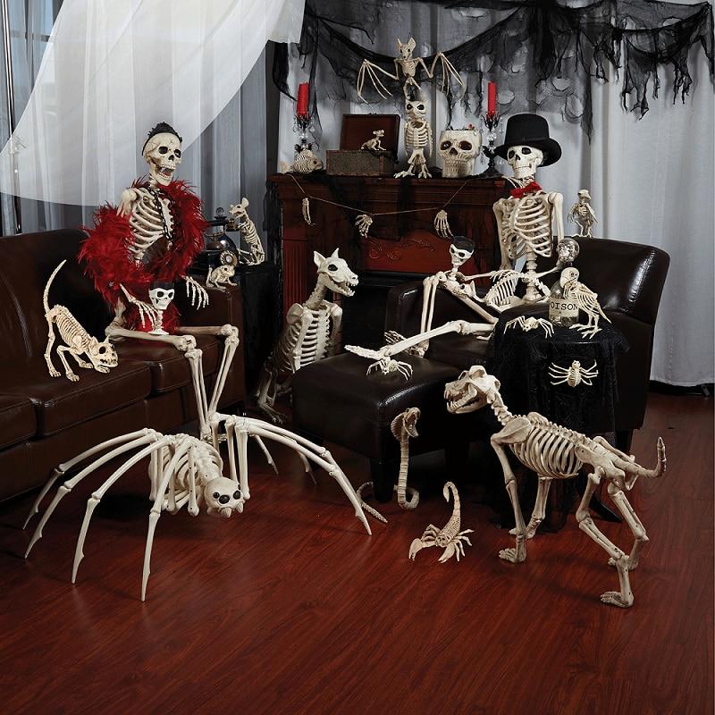 Novo Esqueleto Dragão Animal Cão 100% De Animais de Plástico Ossos do Esqueleto Horror Halloween Horror Prop Animal Casa Decoração Do Partido
