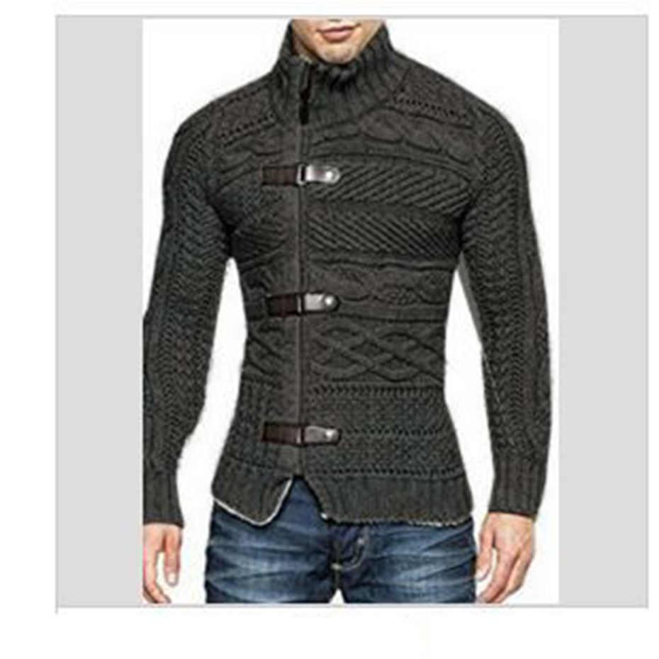 Zogaa Otoño Invierno 2019 moda Casual Cardigan suéter abrigo para hombre Slim Fit caliente hecho a mano gruesa lana suéter ropa de invierno