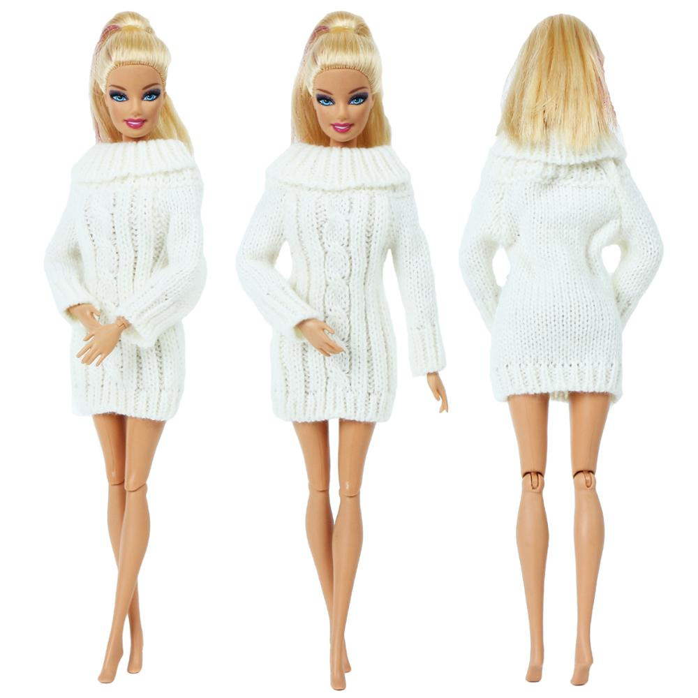 High Quality Fashion Doll Outfit For Barbie Doll Elegant Lady Sweater White Dress Winter Casual Wear Doll Clothes Accessories