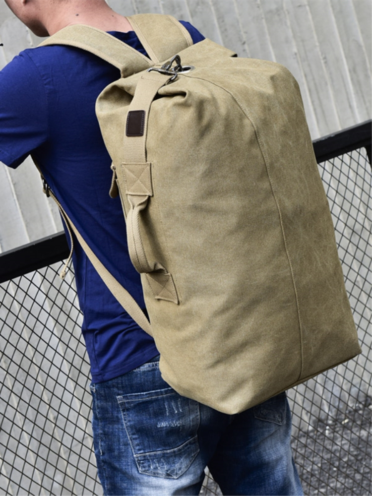 Backpack Male Bucket Rucksack Luggage Shoulder-Bags Travel-Bag Canvas Mountaineering