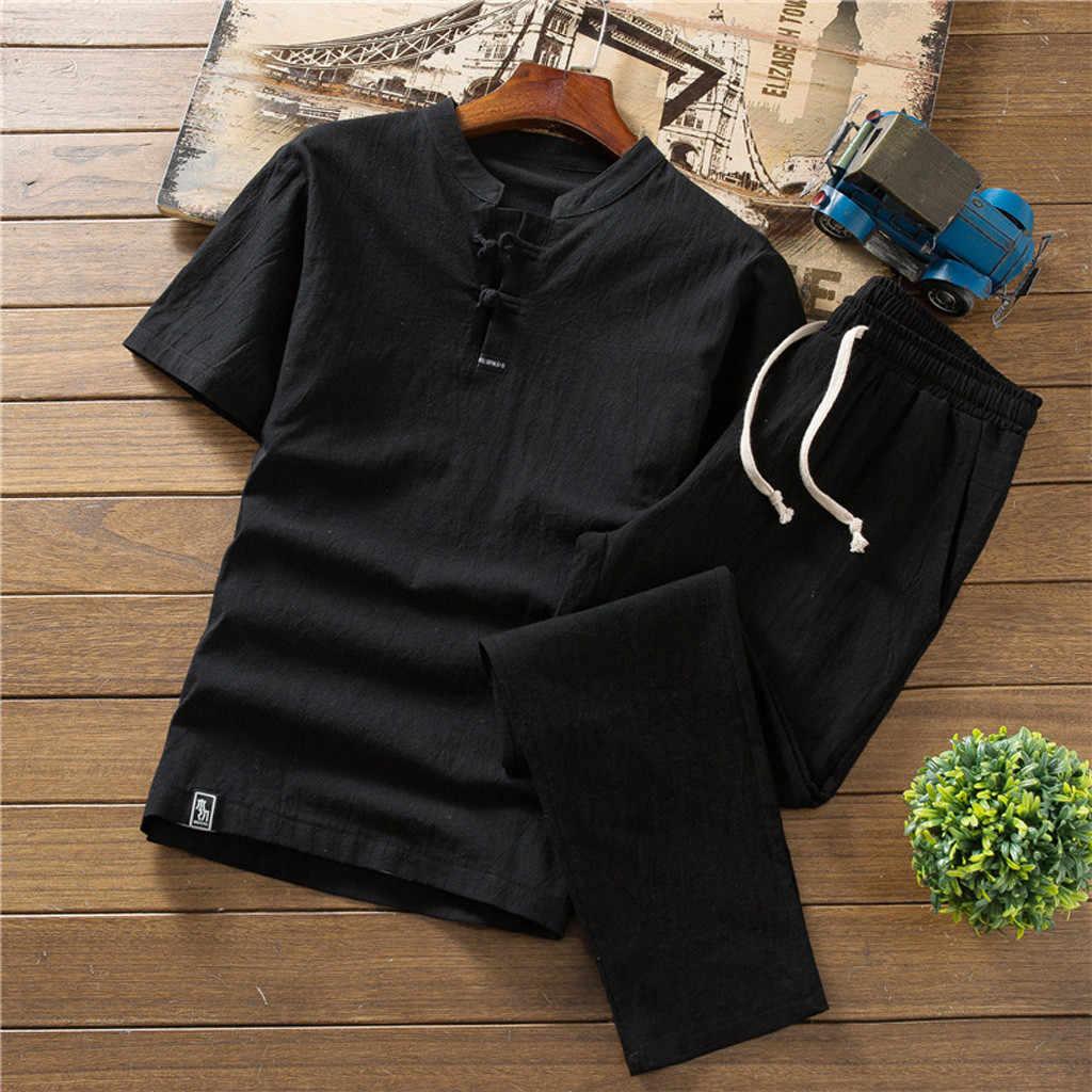 Yaz erkek giyim takım elbise erkek yazlık elbise büyük boy gevşek çin pamuk ve keten kısa kollu tişört 2 parça giysi 1.17