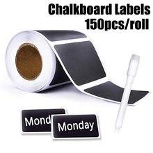 Etiqueta adesiva para quadro-negro, 150 peças/rolo, caneta de giz para cozinha, frascos de vidro à prova d'água, removível, etiqueta