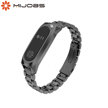 Mijobs Mi Band 2 Strap Smart Watchband for xiaomi Mi Band 2 Strap Metal Screwless Stainless Steel Bracelet for mi band2 Pulseira