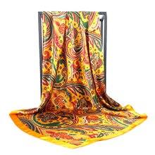 2020 90*90 センチメートル正方形の女性シルクスカーフオフィス女性のヘアネックバンダナヘッドバンドスカーフ headcloth イスラム教徒スカーフ女性