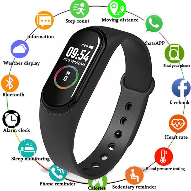 Banda inteligente M4 pulsera Frecuencia Cardíaca presión arterial Monitor de ritmo cardíaco podómetro impermeable PK M3 salud Fitness Tracker pulsera