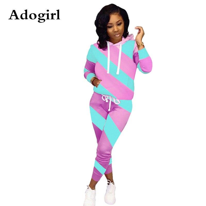 Adogirl Diagonal Stripe Color Block Women  2 Piece Suit Long Sleeve Hooded Sweatshirt Top+ Skinny Pencil Pants Casual Tracksuit