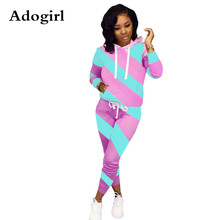 Adogirl Diagonal Stripe Color Block Women  2 Piece Suit Long Sleeve Hooded Sweatshirt Top+ Skinny Pencil Pants Casual Tracksuit