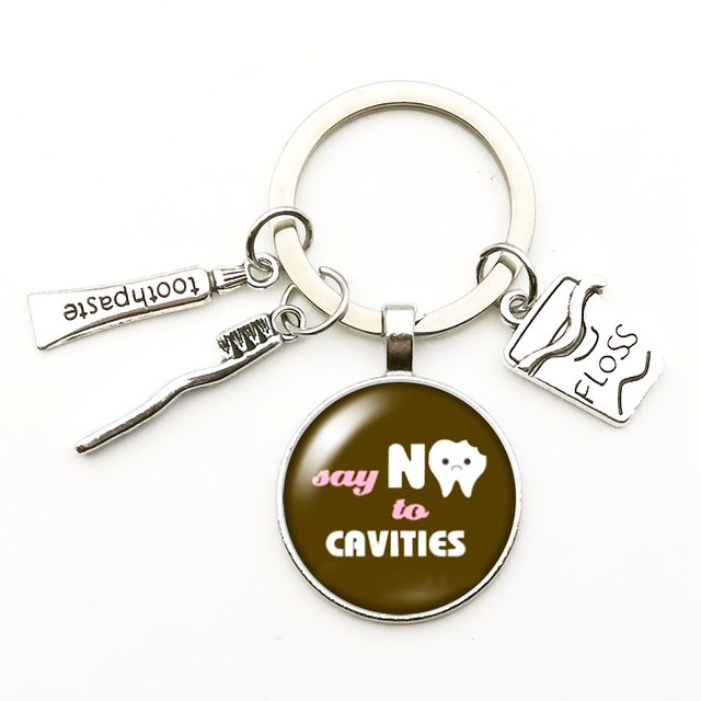 2020 New Cute Dental Floss Box Pendant Keychain Clean Teeth Pattern Key Ring Charm Bag Male Gift Hand Made Key Chains Jewelry