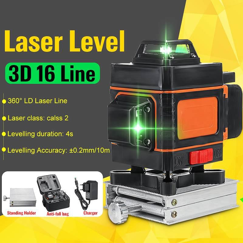 Poziom lasera 16 linii poziom samopoziomujący 360 stopni 3D obrotowe poziome i pionowe krzyż niebieski poziom lasera z pilotem