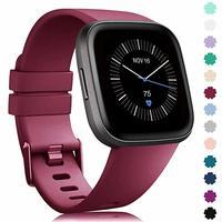 Correa de repuesto para reloj Fitbit, correa de crisol de grafito para smartwatch Fitbit Versa 2 original, de silicona suave, resistente al agua, en varios colores disponible