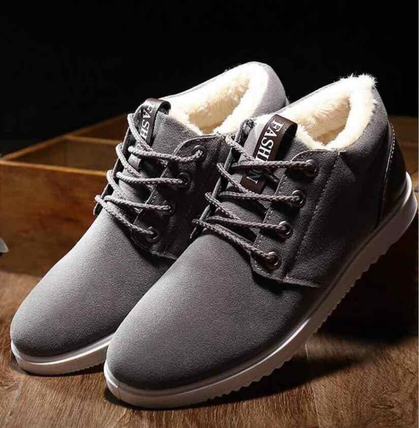 Yeni 2019 Erkekler Deri Çizmeler Moda Kış Sıcak Pamuk Marka yarım çizmeler üzerinde kayma erkek ayakkabısı Ayakkabı rahat ayakkabılar hombre zapatos