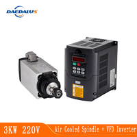 CNC Milling Spindle Motor 3KW Air Cooled Spindle 4 Bearings VFD Inverter Converte Variable Frequency Spindle Speed Control