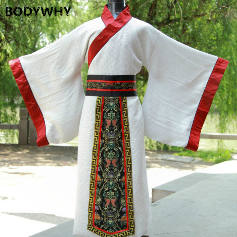 Chinese Men Traditional Costume Male Long White Robe Belt  Hanfu Dance Clothing For Man Stage National Traditional Clothes
