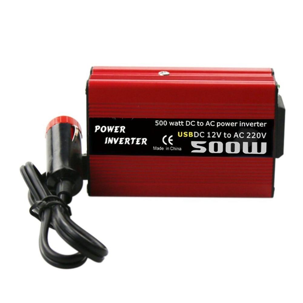 500W DC TO AC Power Converter DC 12V to 110V 220V AC รถอินเวอร์เตอร์อัตโนมัติ TRANSFORMER dual USB รถอะแดปเตอร์