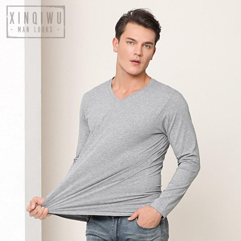 2019 Nuovi Uomini di Stile T Shirt Manica Lunga Scollo a Cuore 95% Cotone Della Camicia di Base con Scollo a V Vestiti di Cotone