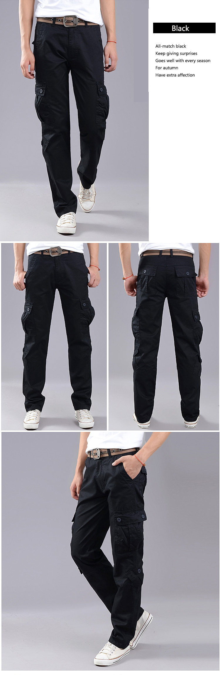 Men's Cargo Pants Baggy Casual Pants Male Army Military Tactical Full Length Trousers Loose