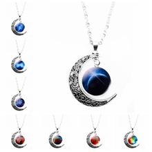 2018 New Hot Fashion Jewelry Necklace Glass Galaxy Cute Pendant Silver Chain Moon Gift Sweater