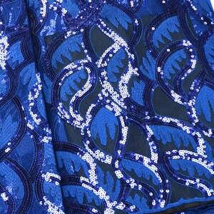 Image 2 - Tissu dentelle à paillettes africaines bleu Royal