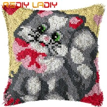 Latch Hook Kit Membuat Anda Sendiri Cushion Grey Kucing-Kanvas Crochet Sarung Bantal Kait Sarung Bantal seni & Kerajinan(China)