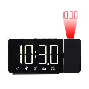 Image 1 - Zegar alarmowy cyfrowe elektroniczne zegary stołowe z funkcją drzemki Radio FM głośny zegarek LED z projekcją czasu