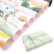10pcs/set 50*72cm Tropical style Wrapping Paper Flowers Bouquet Packing Kraft Stripe Design Handmade Gift