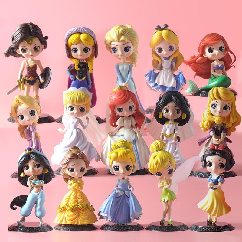 Q Posket Princess Doll Elsa Anna Ariel Harley Quinn Figure Toys Dolls Toys Cake Topper Cake Decoration Birthday Party